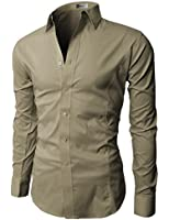 H2H Mens Wrinkle Free Slim Fit Dress Shirts with Solid Long Sleeve