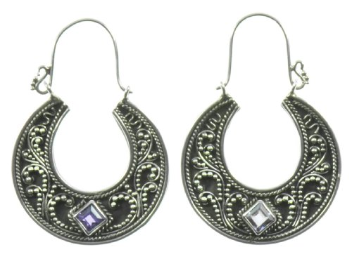 Silver Purple Clear Half Moon Earring Jewelry of Bali