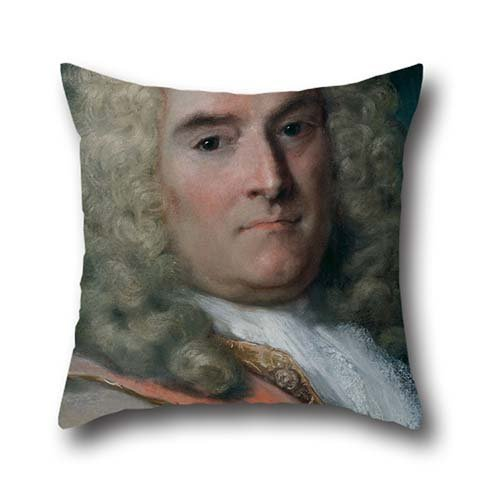 Pillowcover Of Oil Painting Rosalba Carriera - A Gentleman In A Gray Cape Over A Gold-Embroidered Coat,for Relatives,monther,play Room,lover,bedroom,her 20 X 20 Inches / 50 By 50 Cm(each Side) (Gold Emblem Gummy Bears compare prices)
