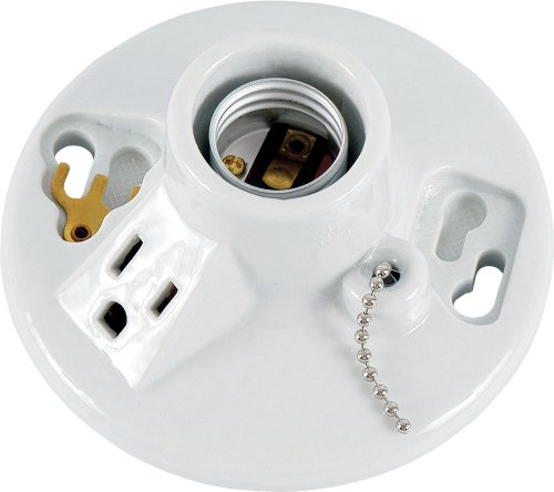 Ge Porcelain Lampholder, Grounded With Pull Chain, White 18305 front-105852