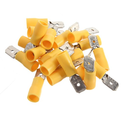 100Pcs Male Insulated Spade Electrical Wire Crimp Terminal Connector 4.0-6.0Mm2-Yellow