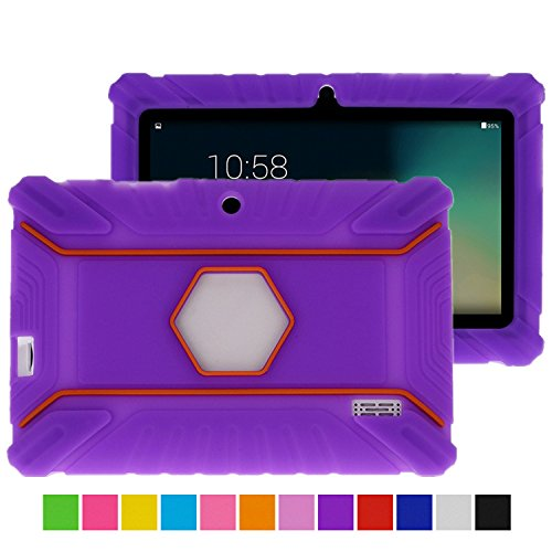 Turpro Kids' Shockproof Silicone Case for Chromo Inc 7 inch, Alldaymall A88X, Dragon Touch Y88X Plus/Y88X, VURU A33, NPOLE 7 Inch Tablet (Purple) (7 Inc Tablet Case For Kids compare prices)