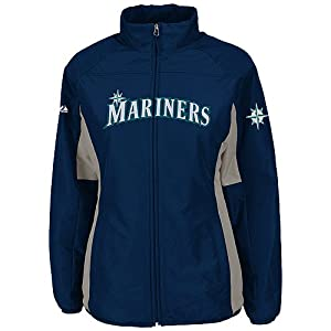 Seattle Mariners Navy Ladies Authentic Double Climate On-Field Jacket by Majestic by Majestic