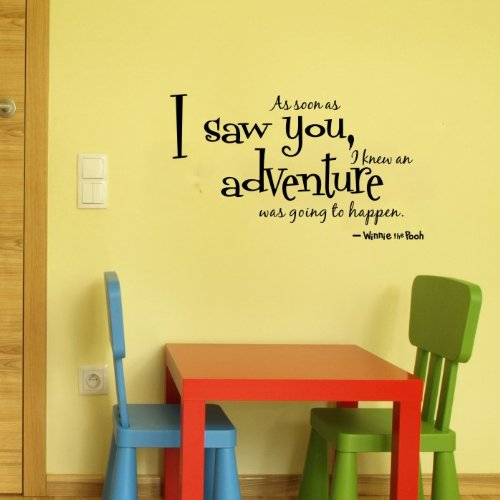 """Winnie The Pooh Wall Decor Quote """"As Soon As I Saw You,I Knew An Adventure Was Going To Happen"""" Boys Kid'S Room Wall Art Decal Vinyl Lettering Saying (Black) front-124665"""
