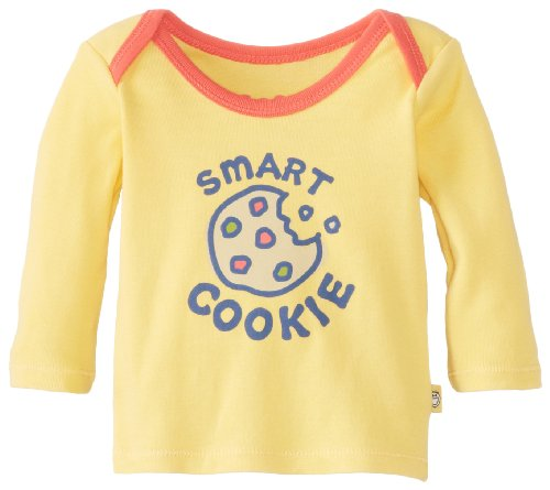 Life Is Good Baby Ringer Long Sleeve Smart Cookie Tee, Sunny Yellow, 6-12 Months