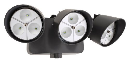 Lithonia Oflr 9Ln 120 P Bz Led Outdoor 3-Light Floodlight With Dusk To Dawn Photocell, Black