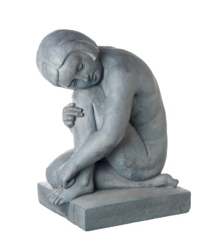 Girl Sitting Statue Sculpture / Garden Ornament In Granite