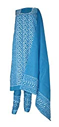 eco haat Vibrant Cotton Embroidered Unstitched Salwar Suit Dress Material [BLUPWDM02]