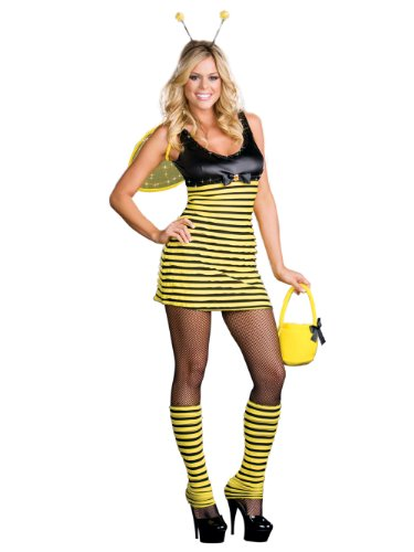 Bumble Bee Costume Animal Black Yellow Mini Dress Sexy Adult Theatre Costumes