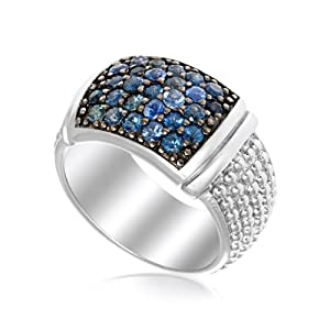 Sterling Silver Popcorn Ring with Blue Sapphire Accents