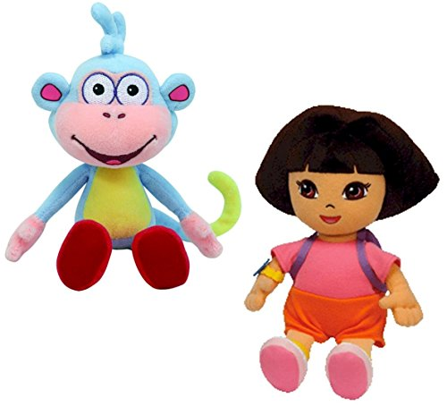 ty-beanie-baby-dora-the-explorer-and-her-monkey-boots-plush-pair-of-cuddly-collectable-toys-by-dora-