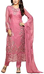 Binny Creation Women's Semi-Stitched Georgette Embroidered Salwar Suit.(Baby pink )