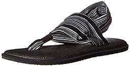 Sanuk Women\'s Yoga Sling 2 Flip-Flop,Black/White,9 M US