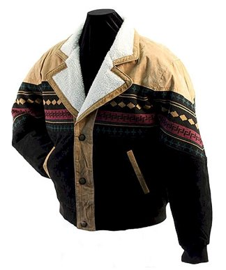 Navajo Style Suede Leather Winter Jacket (Small)