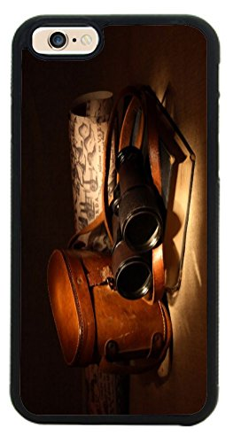 Rikki Knighttm Vintage Old Binoculars With Bag Design Iphone 6 Case Cover (Black Rubber With Front Bumper Protection) For Apple Iphone 6