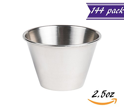 Set of 144 Stainless Steel Portion Cups 2.5 oz, Individual Condiment Sauce Cups - 2 1/2 ounces