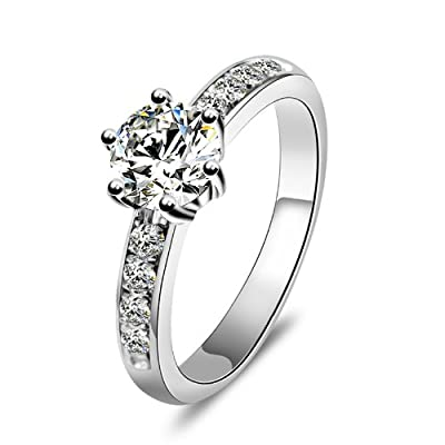 "MARENJA Silver Gifts for Women-The Wedding & Engagement Collection! Women's 925 Sterling Silver Rings with transparent stone zirconia ""Eternal Love"" 18K white gold plated super glamorous"