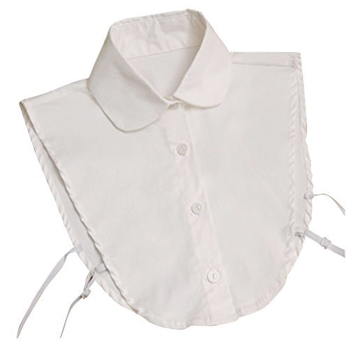 NuoYa001 Fashion Doll collar Vintage Elegant Women's Fake Half Shirt Detachable Blouse White (Include a Cycling Reflective Band As Gift) - 1