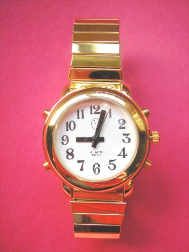 Ladies Deluxe Talking Wrist Watch With Alarm Gold Tone For Low Vision Or Blind