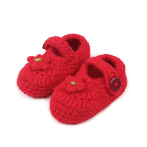 Touch Cute Knitted Flower Crochet Casual Shoes Prewalker Baby Girl Gift (Red) front-299294