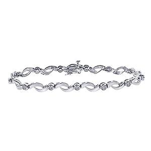 0.50 Carat Diamond 14K White Gold Fancy Link Bracelet