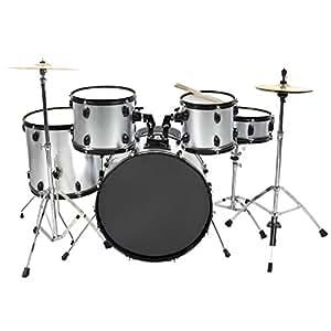 drum set 5 pc complete adult set cymbals full size silver new drum set musical. Black Bedroom Furniture Sets. Home Design Ideas