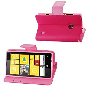 Reiko 3 In 1 Wallet Case for Nokia Lumia 520 with Interior Leather-Like Material and Polymer Cover - Retail Packaging - Hot Pink