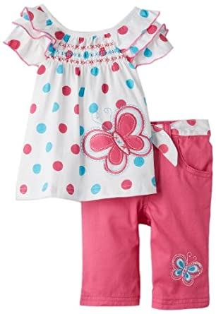 Young Hearts Baby-Girls Infant 2 Piece Polka Dot Butterfly Twill Capri Set, White, 12 Months