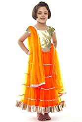 Beautifull Small Girl's Orange Lehenga Choli With Dupatta (8-10 Years) Presenting by Sixsense Retailers