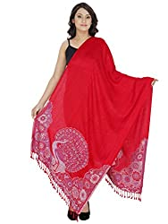 Indo Essence (Women's_ Designer Patch Embroidered Red Stole)