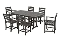 Hot Sale POLYWOOD PWS131-1-GY La Casa Café 7-Piece Dining Set, Slate Grey