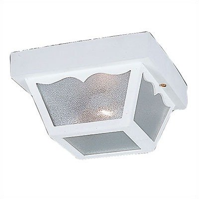 Sea Gull Lighting 7567-15 Single-Light Outdoor Close-to-Ceiling Fixture, Clear Textured Glass and White