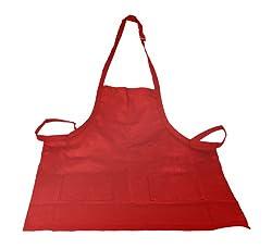 Crestware Bib Apron 2 Pocket, Red