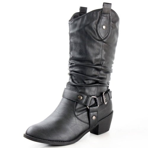 West Blvd Womens Cowboy Boots Casual Western Shoes Chunky Heels Cowgirl Slouch Roper Harness Mid Calf Buckle Slouchy Strap Round Toe Buckled Ruched Belted Dress Fashion Designer Comfort