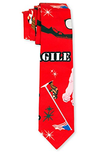 Men's A Christmas Story Ties Leg Lamp Fragile Necktie in Red By Festified (Ugly Ties For Men compare prices)