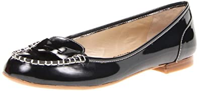 Nine West Women's Eyepopper Flat,Black Synthetic,9.5 M US