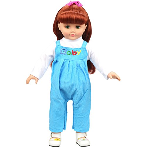[HappyBB Baby Doll Clothes Skirt Fits 16 inches American Girl Doll Sling Pant Suit (Blue)] (2pc Child Cheerleader Costumes)