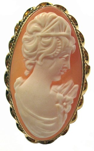Ring Cameo Italian Master Carved Sterling Silver 18k Gold Overlay Carnelian Conch Shell Size 7.25