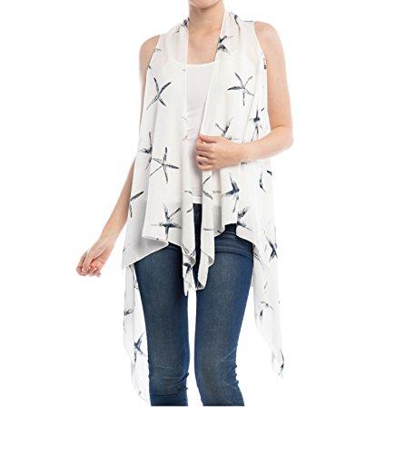 Women Chiffon vest starfish pink white blue vest chiffon fashion dress long vest (White)