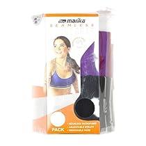 Marika Tek Womens 2-Pack Seamless Sport Bras Small 32C/34B Black/Purple Magic
