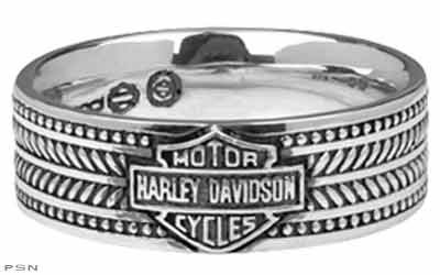 Harley Davidson SZ11 sterling Men's ring WEAVE Bar & Shield band MOD HDR0212