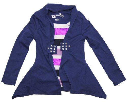 Dream Star Little Girl Summer Striped Long Sleeve Top Tee T-Shirt S(4) Navy front-123924