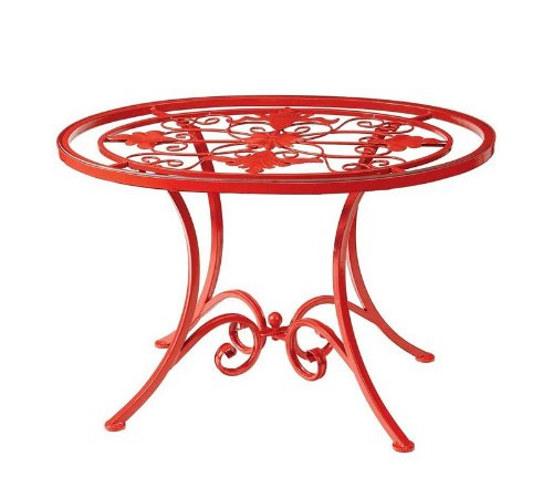 Cheap Garden Accent End Table Grill Center Glass Top in Red Finish (B003BNNJ9M)