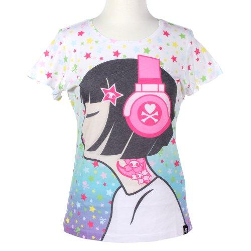 Tokidoki Toki Girl Headphones Juniors Tee Shirt (X-Large)