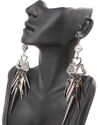 Black Lady Gaga Poparazzi Earrings with Spikes and Multiple Hearts Light Weight Basketball Wives