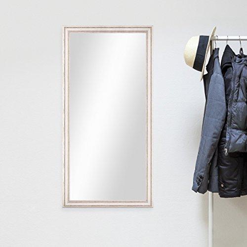 Wand-Spiegel-60x110-cm-im-Massivholz-Rahmen-Landhaus-Stil-Weiss-Spiegelflche-50x100-cm