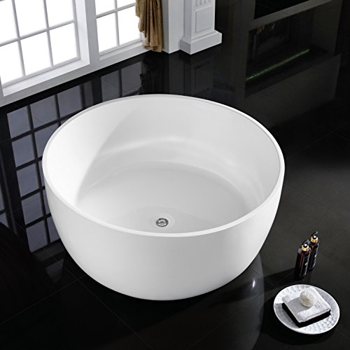 MAYKKE Vale 53 Inches Modern Round Acrylic Bathtub Freestanding White Tub in Bathroom, 17-3/4 Inches Water Depth, 137 Gallons Water Capacity, XDA1401001 (Soaker Tub Drain Kits compare prices)