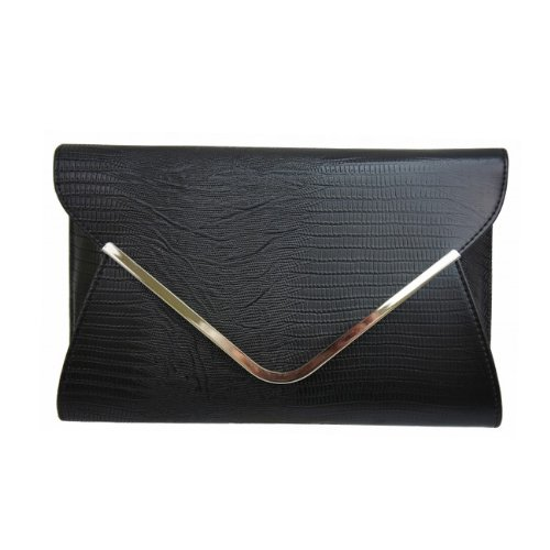 Large Mock Croc Envelope Fashion Clutch Bag Black