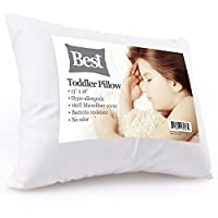 Best Toddler Pillow (INCREDIBY SOFT - 100% HYPOALLERGENIC) No Pillowcase Needed! Allergy Free - White Microfiber Finish 13x18 - Provides Great Back & Neck Support for Any Toddler, Kid, or Child from BEST