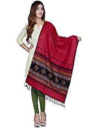 Rama Red And Black Self Design Stole.